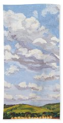 Beach Towel featuring the painting Cumulus Clouds Over Flint Hills by Erin Fickert-Rowland