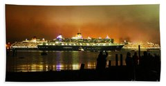 Beach Towel featuring the photograph Cunard's 3 Queens by Terri Waters