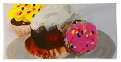 Beach Sheet featuring the painting Cupcakes by Marisela Mungia