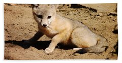 Curious Kit Fox Beach Towel by Meghan at FireBonnet Art