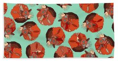 Curled Fox Polka Mint Beach Towel
