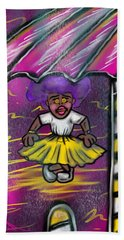 Curtsy Doll Rain Beach Towel