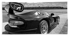 Curvalicious Viper In Black And White Beach Towel by Gill Billington