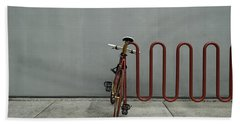 Curved Rack In Red - Urban Parking Stalls Beach Towel by Steven Milner