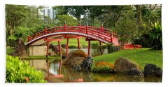 Curved Red Japanese Bridge And Stream Chinese Gardens Singapore Beach Towel