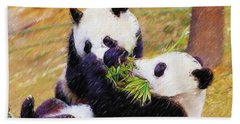 Cute Pandas Play Together Beach Sheet by Lanjee Chee