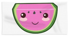 Cute Watermelon Illustration Beach Towel by Pati Photography