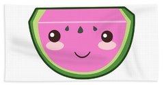 Cute Watermelon Illustration Beach Sheet by Pati Photography