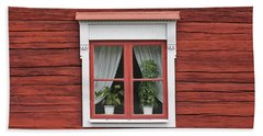 Cute Window On Red Wall Beach Towel