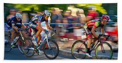 Cycling Pursuit Beach Sheet by Kevin Desrosiers