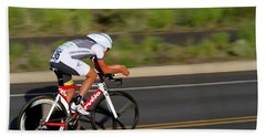 Beach Towel featuring the photograph Cycling Time Trial by Kevin Desrosiers