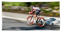 Cyclist Racing The Clock Beach Sheet by Kevin Desrosiers