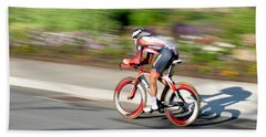 Cyclist Time Trial Beach Sheet by Kevin Desrosiers
