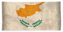 Cyprus Flag Vintage Distressed Finish Beach Towel