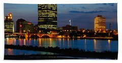 D12u152 Toledo Ohio Skyline Photo Beach Sheet