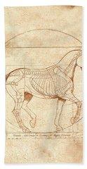 da Vinci Horse in Piaffe Beach Sheet by Catherine Twomey