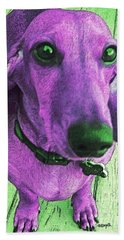 Dachshund - Purple People Greeter Beach Towel