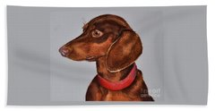Dachshund Watercolor Painting Beach Sheet