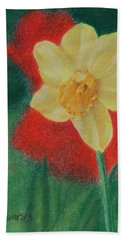 Beach Sheet featuring the pastel Daffodil And Poppies by Marna Edwards Flavell