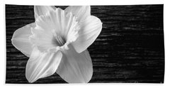 Daffodil Narcissus Flower Black And White Beach Towel