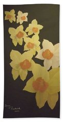 Daffodils Beach Towel by Terry Frederick