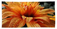 Dahlia Raindrops Beach Towel