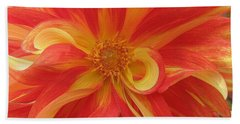 Dahlia Unfurling In Yellow And Red Beach Sheet by Dora Sofia Caputo Photographic Art and Design