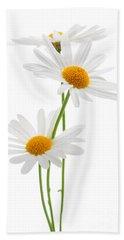 Daisies On White Background Beach Sheet by Elena Elisseeva