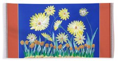 Beach Towel featuring the painting Daisies by Ron Davidson