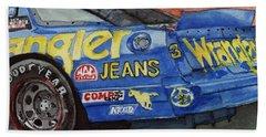 Dale Earnhardt's 1987 Chevrolet Monte Carlo Aerocoupe No. 3 Wrangler  Beach Towel by Anna Ruzsan