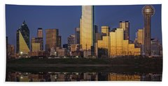Dallas At Dusk Beach Towel by Rick Berk