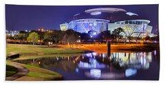 Dallas Cowboys Stadium At Night Att Arlington Texas Panoramic Photo Beach Towel