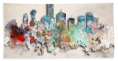 Dallas Painted City Skyline Beach Towel by World Art Prints And Designs