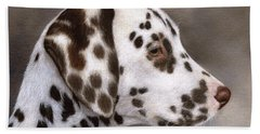 Dalmatian Puppy Painting Beach Towel