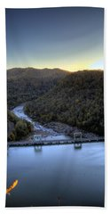Beach Towel featuring the photograph Dam Across The River by Jonny D