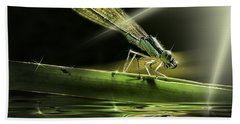Damsel Dragon Fly  With Sparkling Reflection Beach Sheet