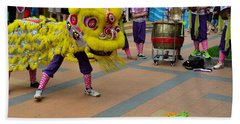 Dance Troupe Performs Chinese Lion Dance Singapore Beach Towel