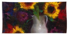 Dance With Me - Sunflower Still Life Beach Sheet