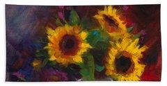 Dance With Me - Sunflower Still Life Beach Sheet