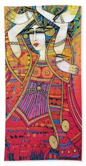 Dancer With Doves Beach Towel