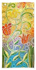 Dancing Flowers Beach Towel by Linda Bailey