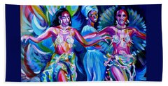 Beach Towel featuring the painting Dancing Panama by Anna  Duyunova