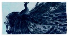 Dancing Peacock Aqua Beach Towel by Anita Lewis