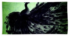 Dancing Peacock Green Beach Towel by Anita Lewis