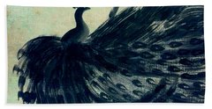 Dancing Peacock Mint Beach Towel by Anita Lewis