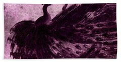 Dancing Peacock Plum Beach Towel by Anita Lewis