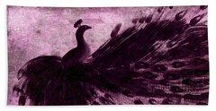Dancing Peacock Plum Beach Towel