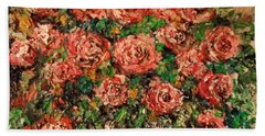 Beach Towel featuring the painting Dancing Red Roses by Laurie Lundquist