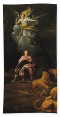 Daniel In The Den Of Lions Oil On Canvas Beach Towel