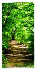 Dappled Sunlit Path In The Forest Beach Sheet